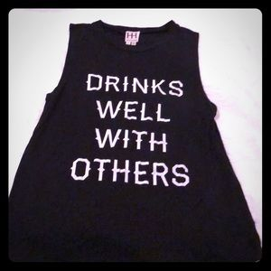 """Haute Hippie """"Drinks Well With Others"""" tshirt"""